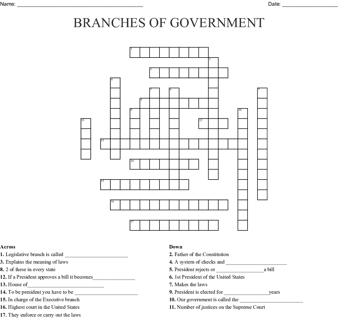 Bestseller United States Government Crossword Puzzle