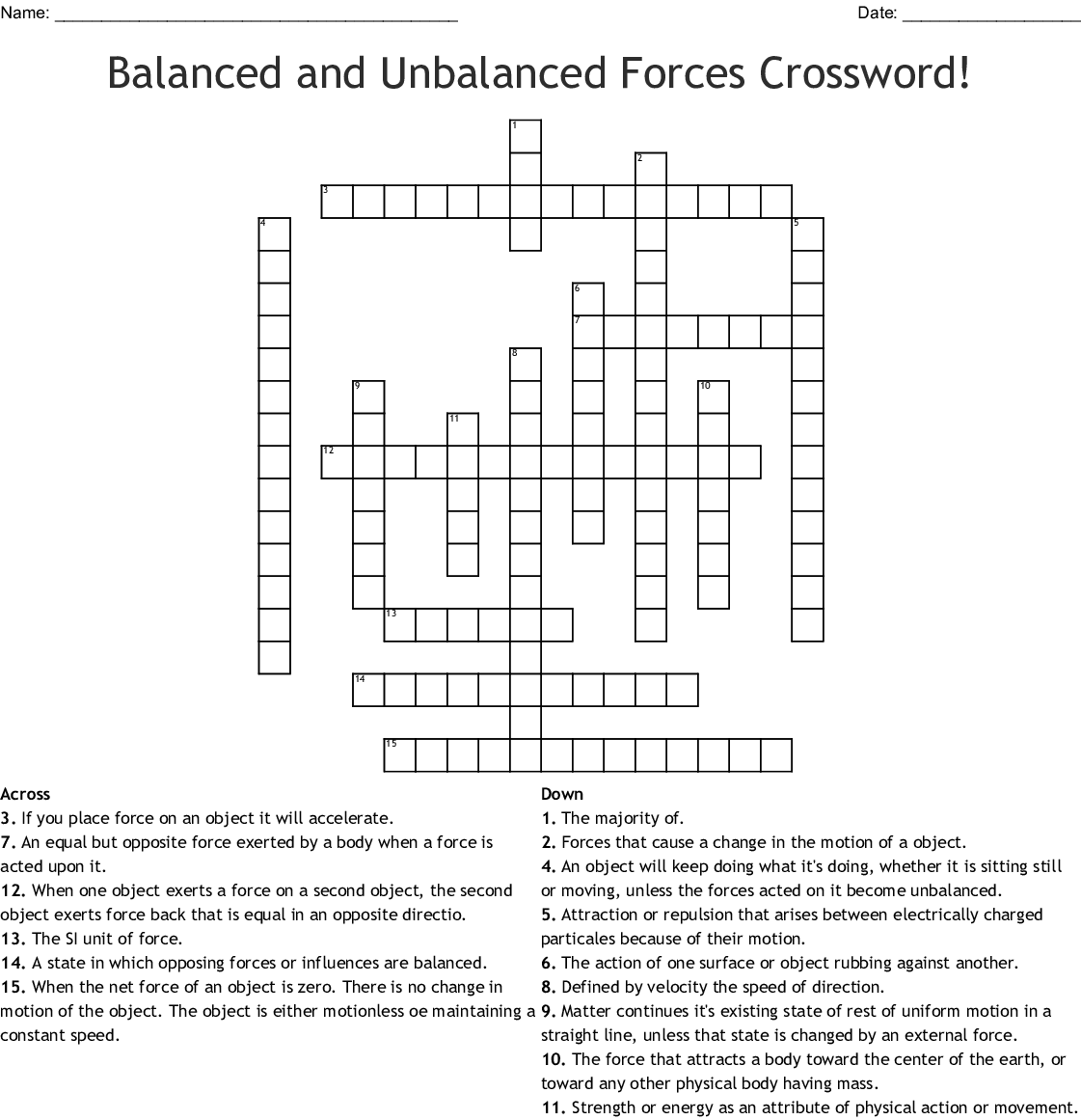 Balanced And Unbalanced Forces Wordsearch