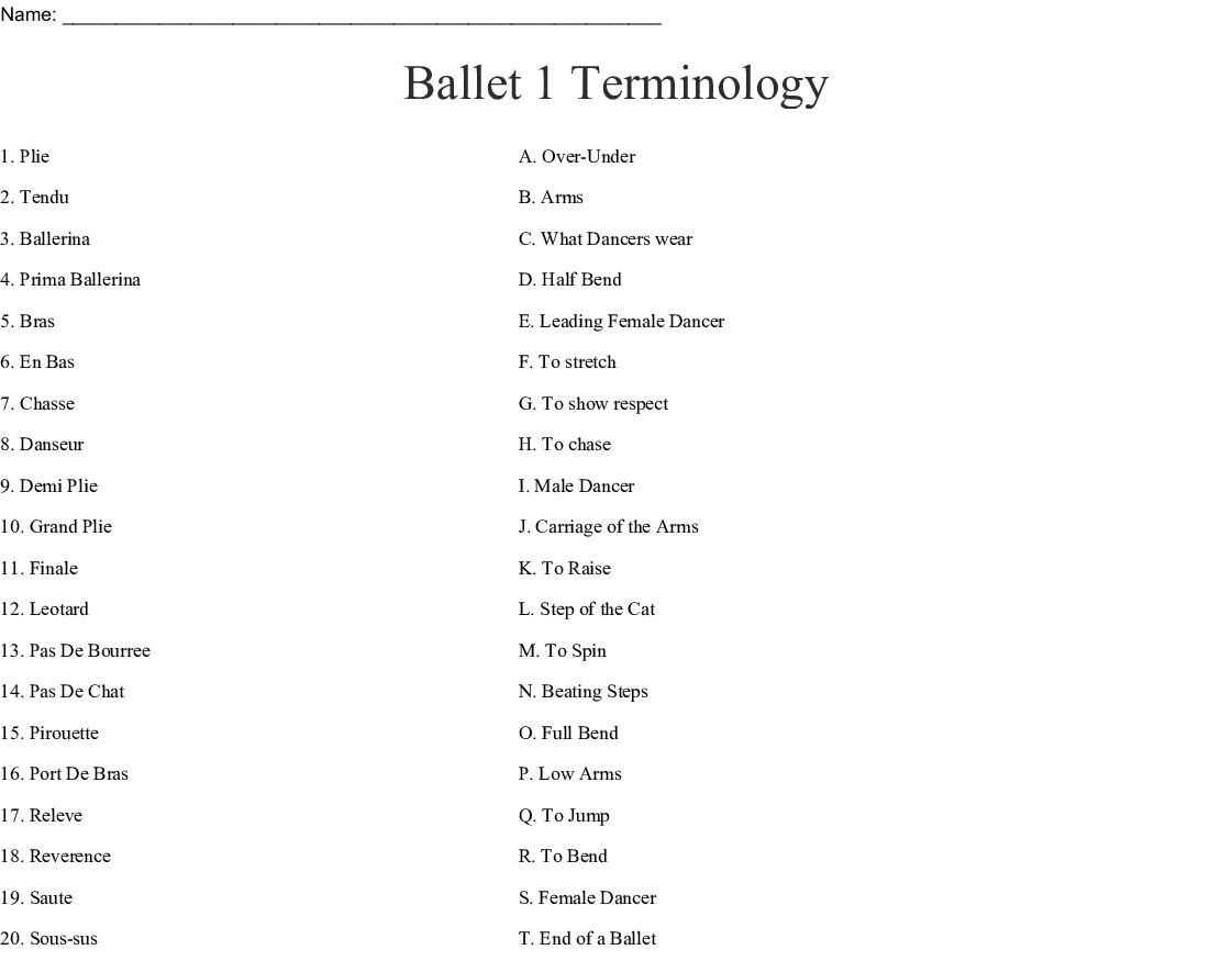Ballet 1 Terminology Worksheet