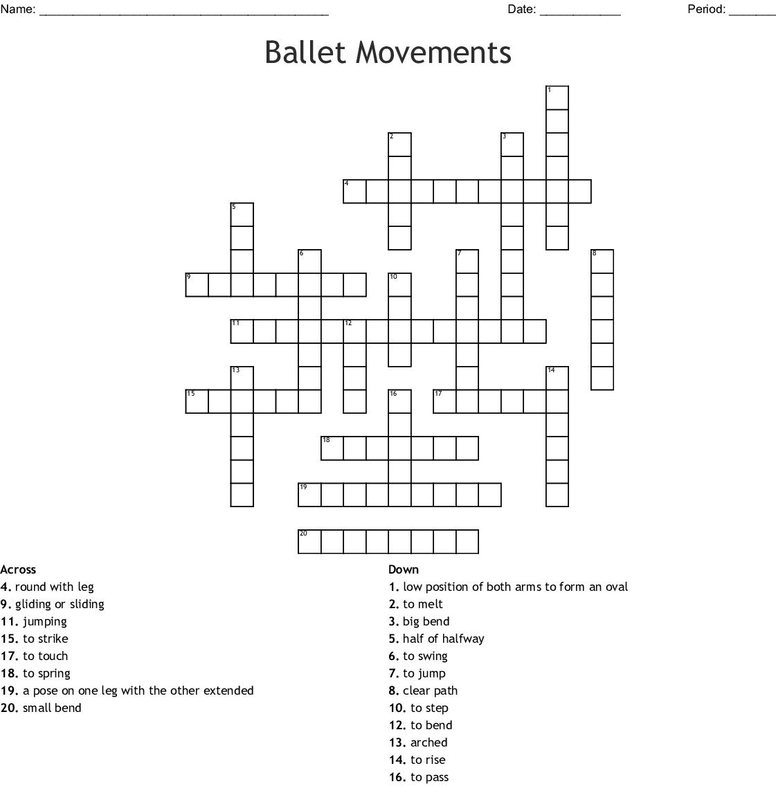 Ballet Movements Crossword