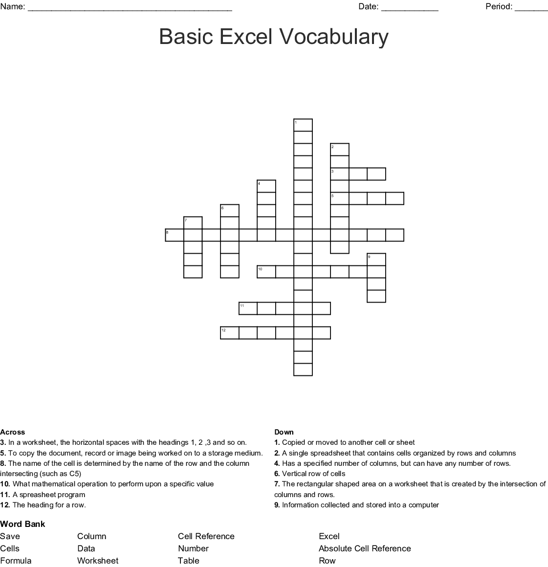 Basic Excel Vocabulary Crossword
