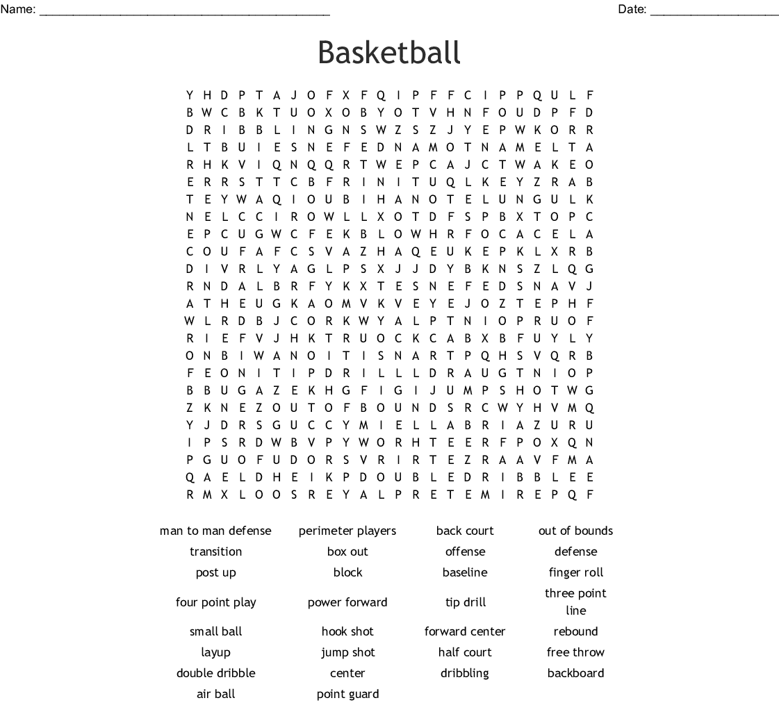 Basketball Crosswords Word Searches Bingo Cards