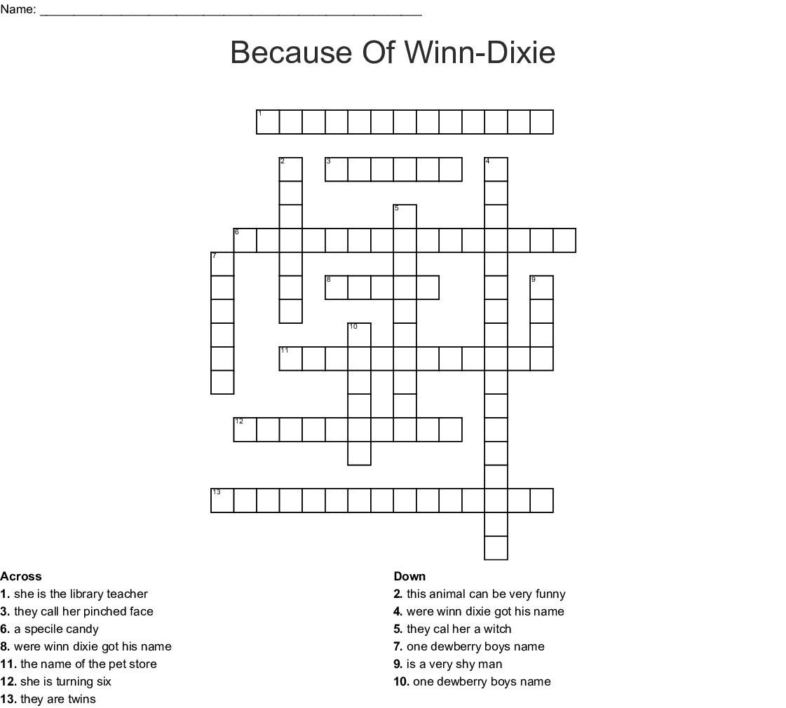 Because Of Winn Dixie Crossword