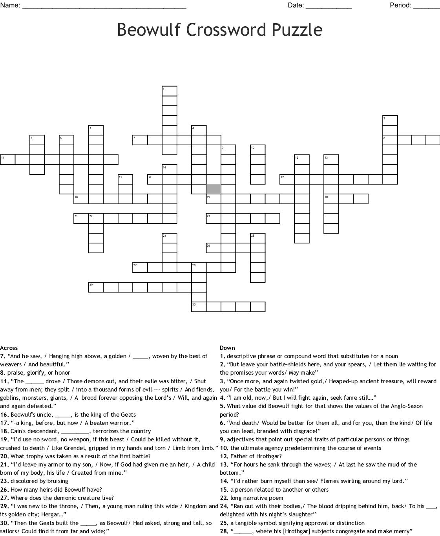 Beowulf Crossword Puzzle Crossword