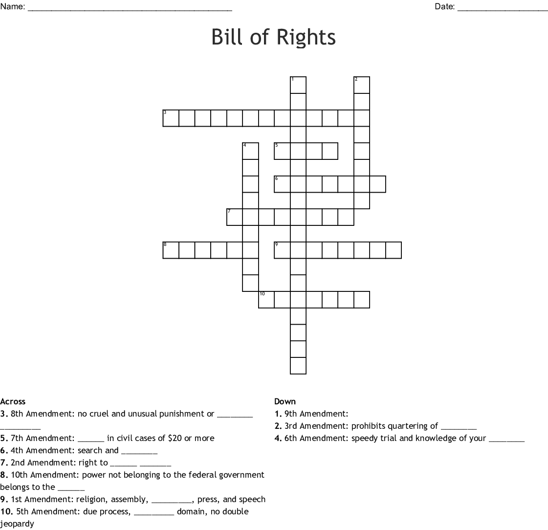 Bill Of Rights Worksheet Answer Key
