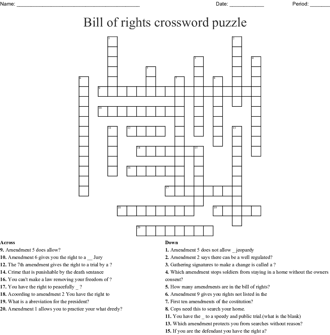 The Best Bill Of Rights Quiz Printable