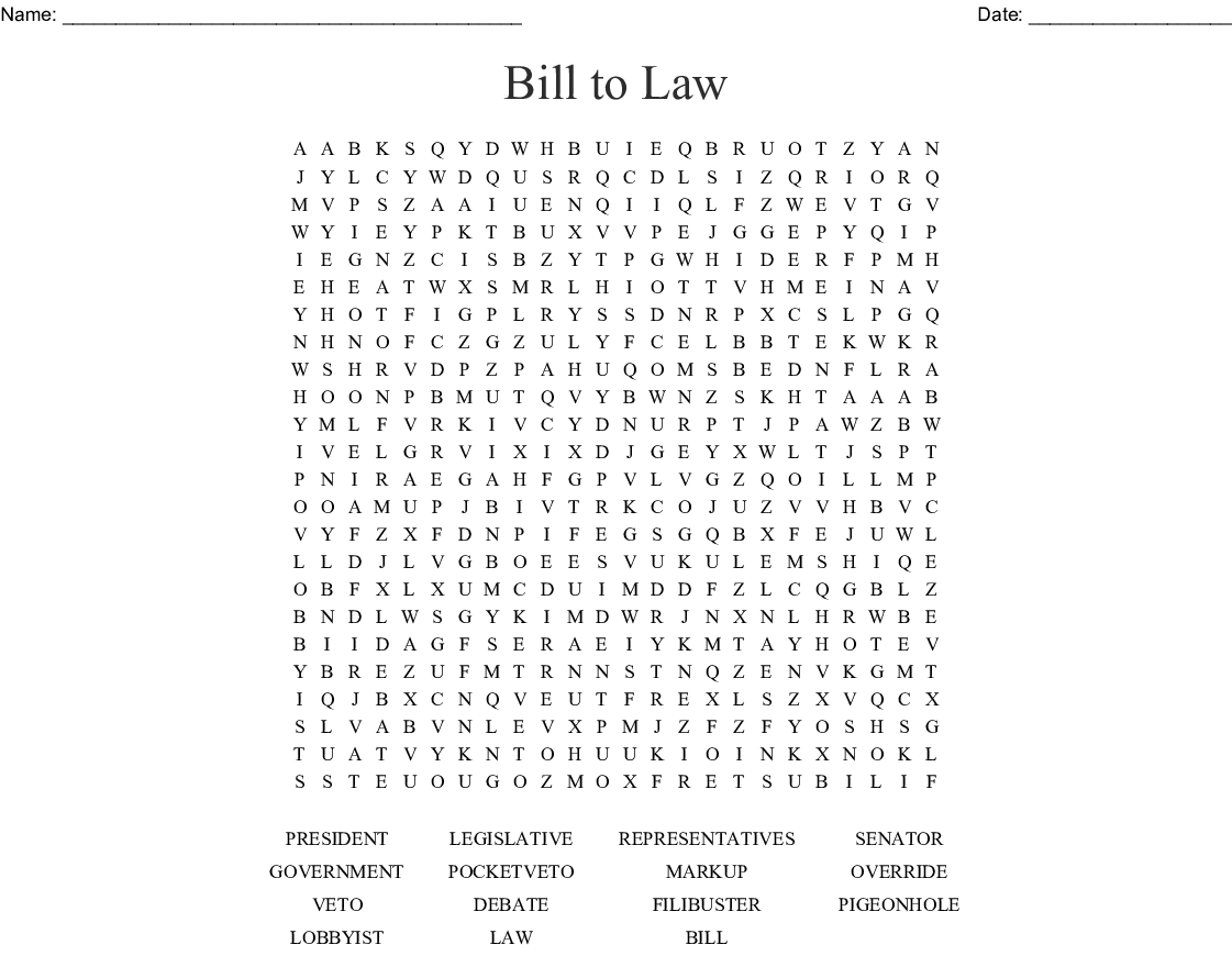 Bill To Law Word Search