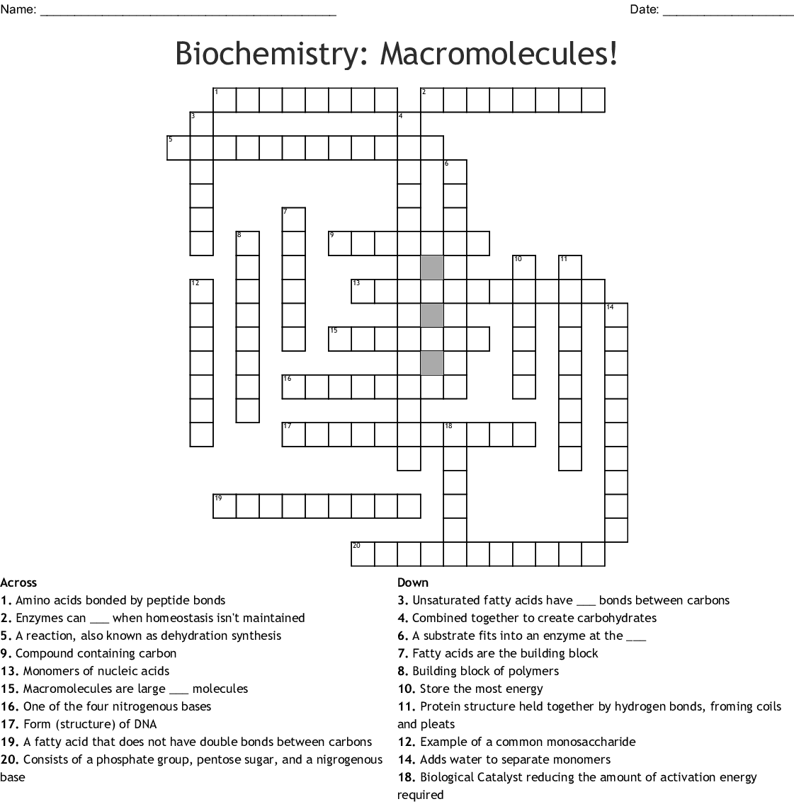 Building Monomers Of Macromolecules Worksheet Answers