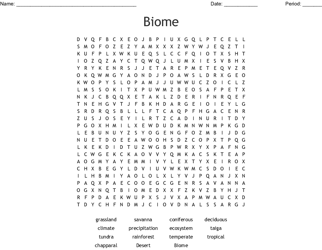 Biome Word Search
