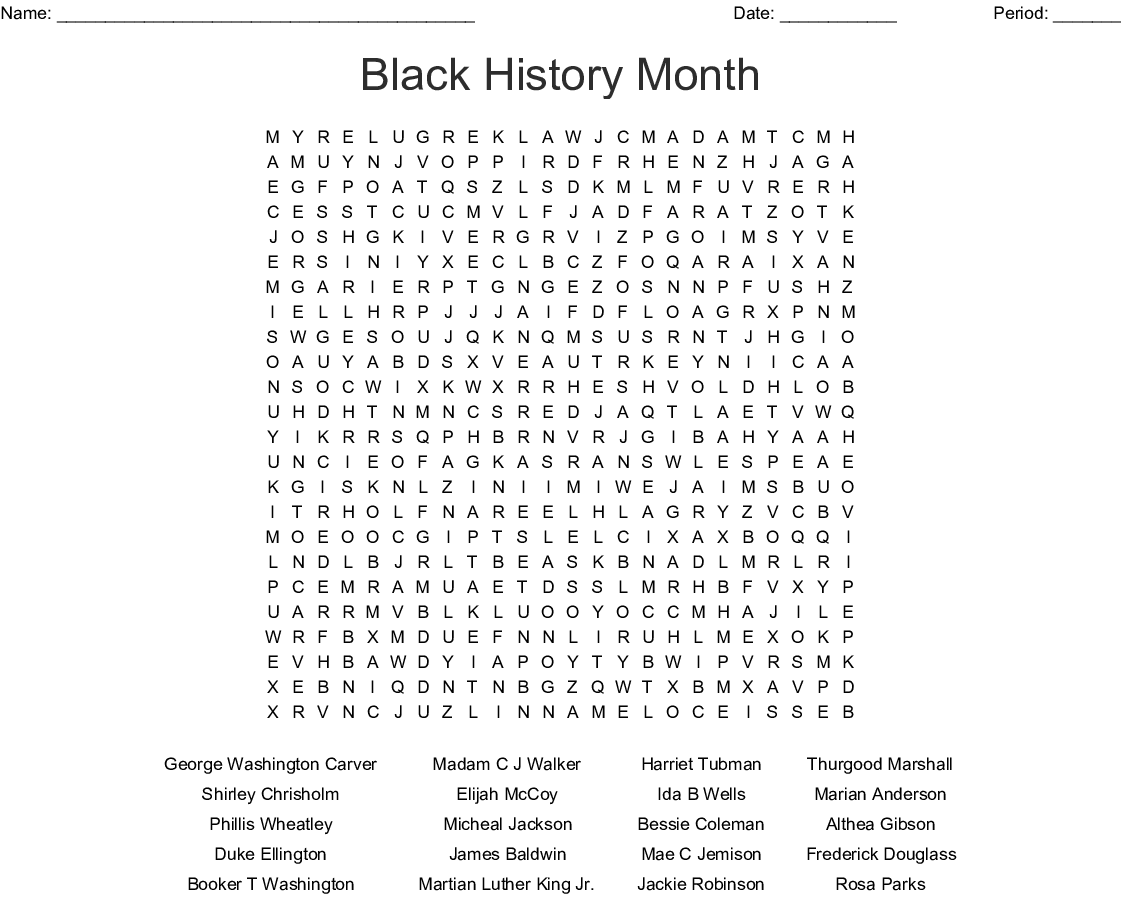 Black History Month Word Search