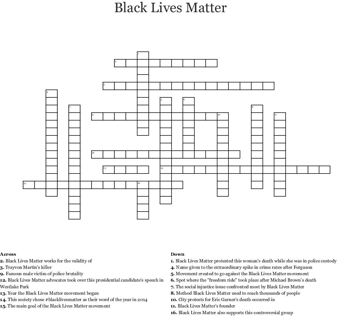 Black Lives Matter Word Search
