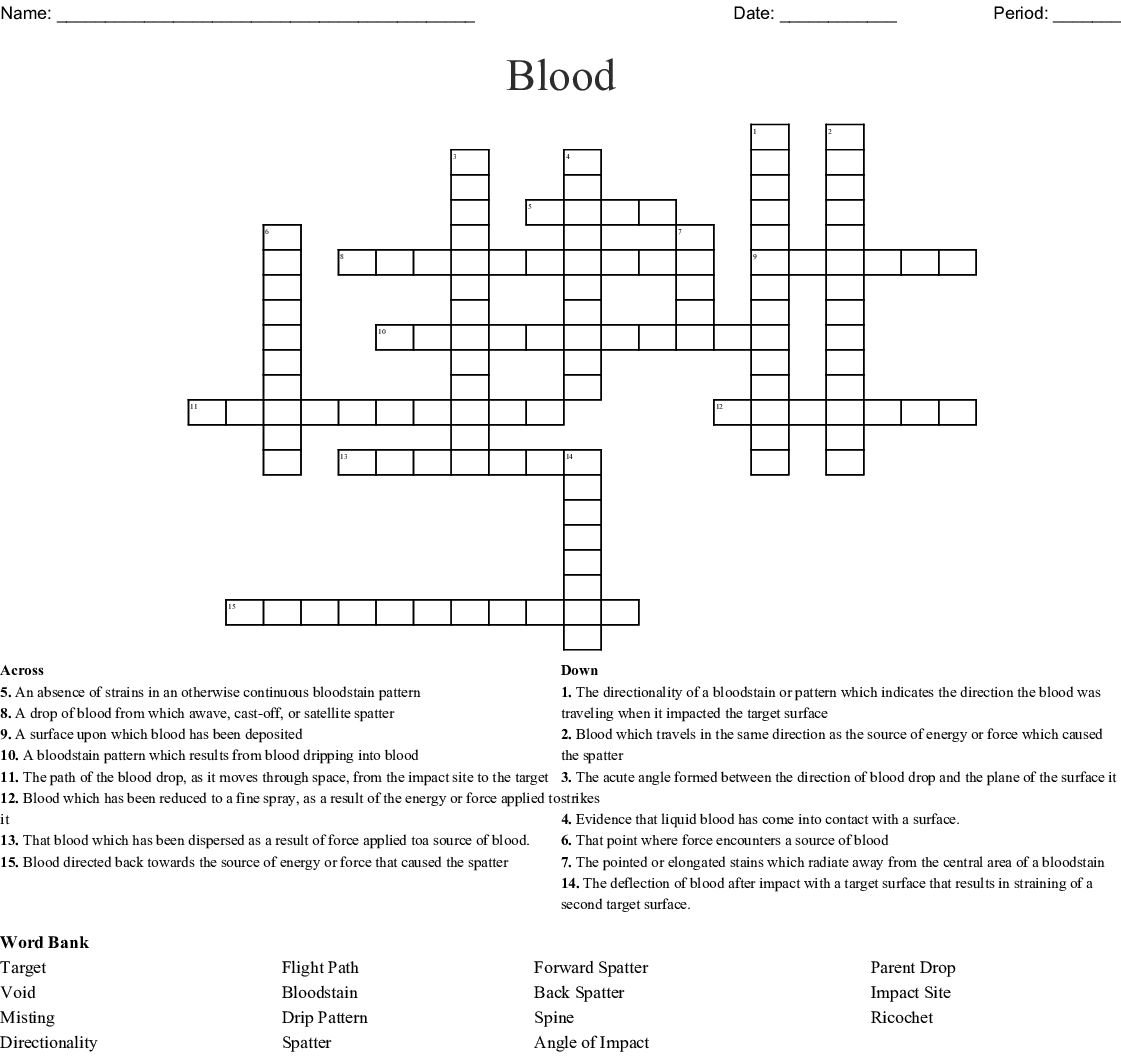Chapter 8 Blood And Blood Spatter Crossword