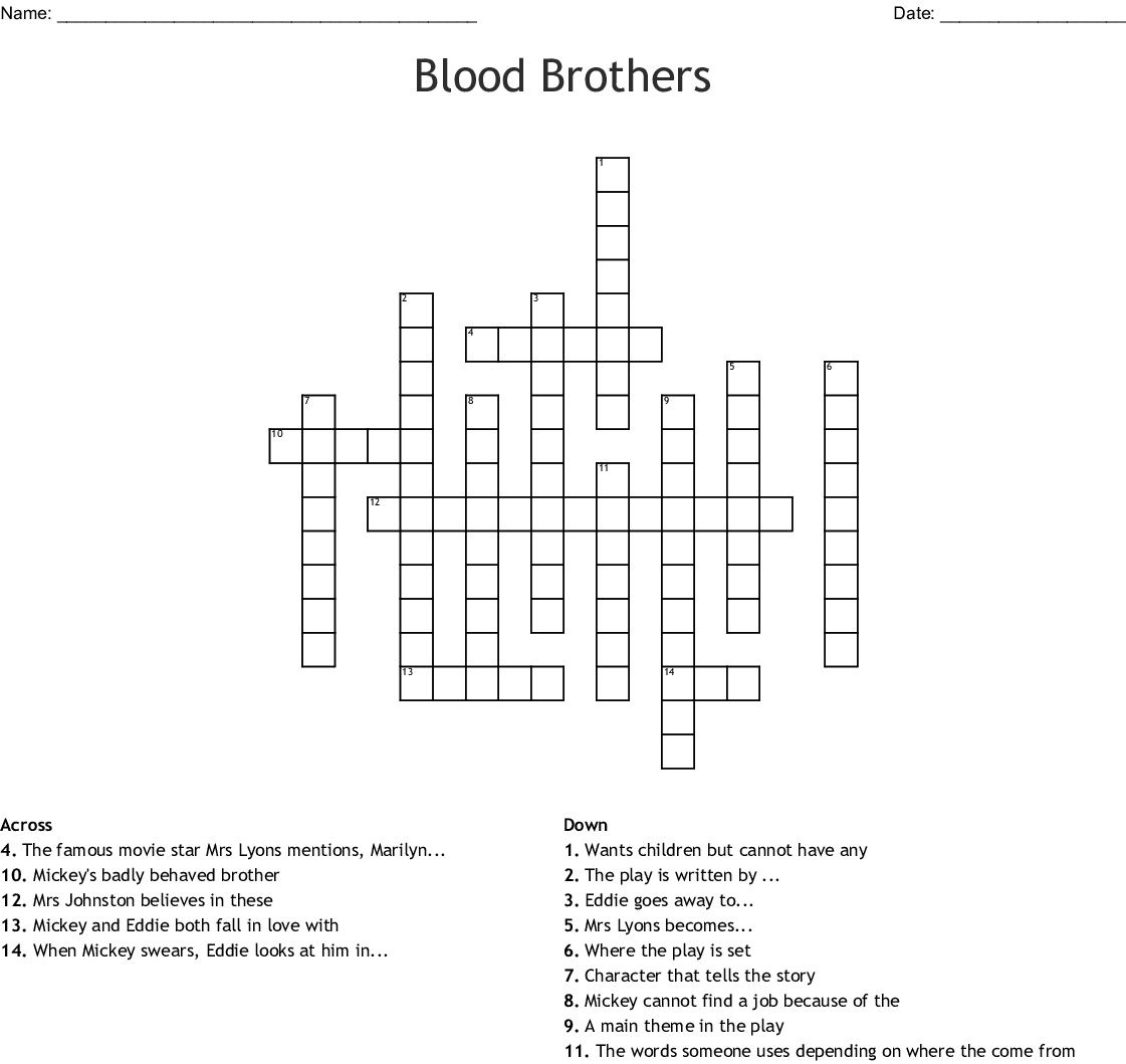 Blood Brothers Word Search