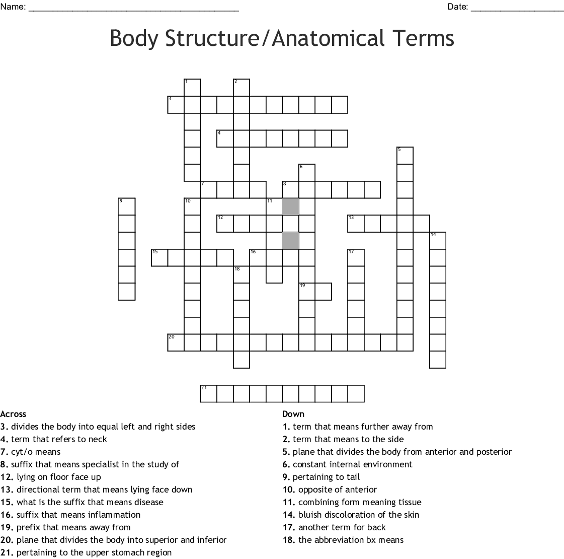 Medical Terms Crossword