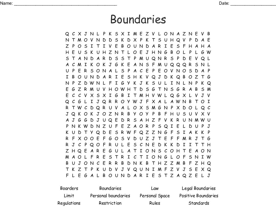 Boundaries Word Search