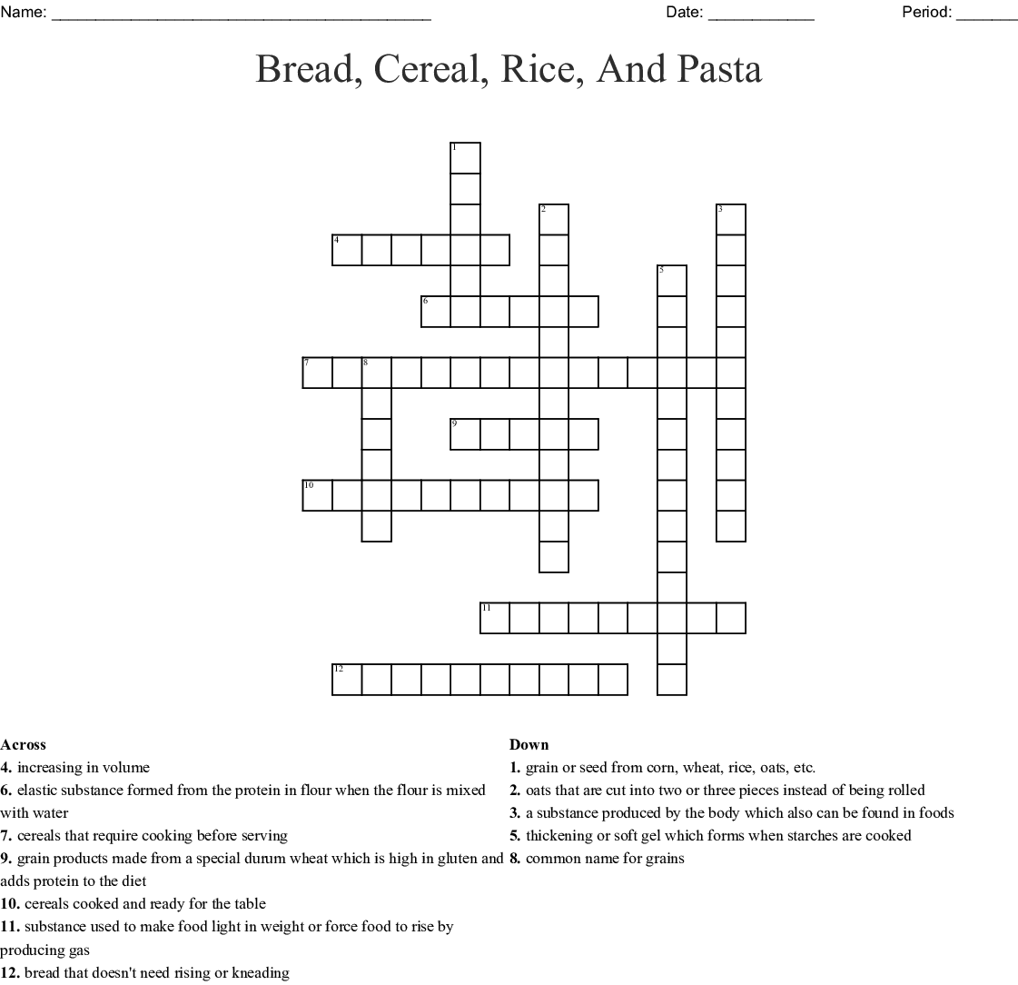 Bread Cereal Rice And Pasta Crossword