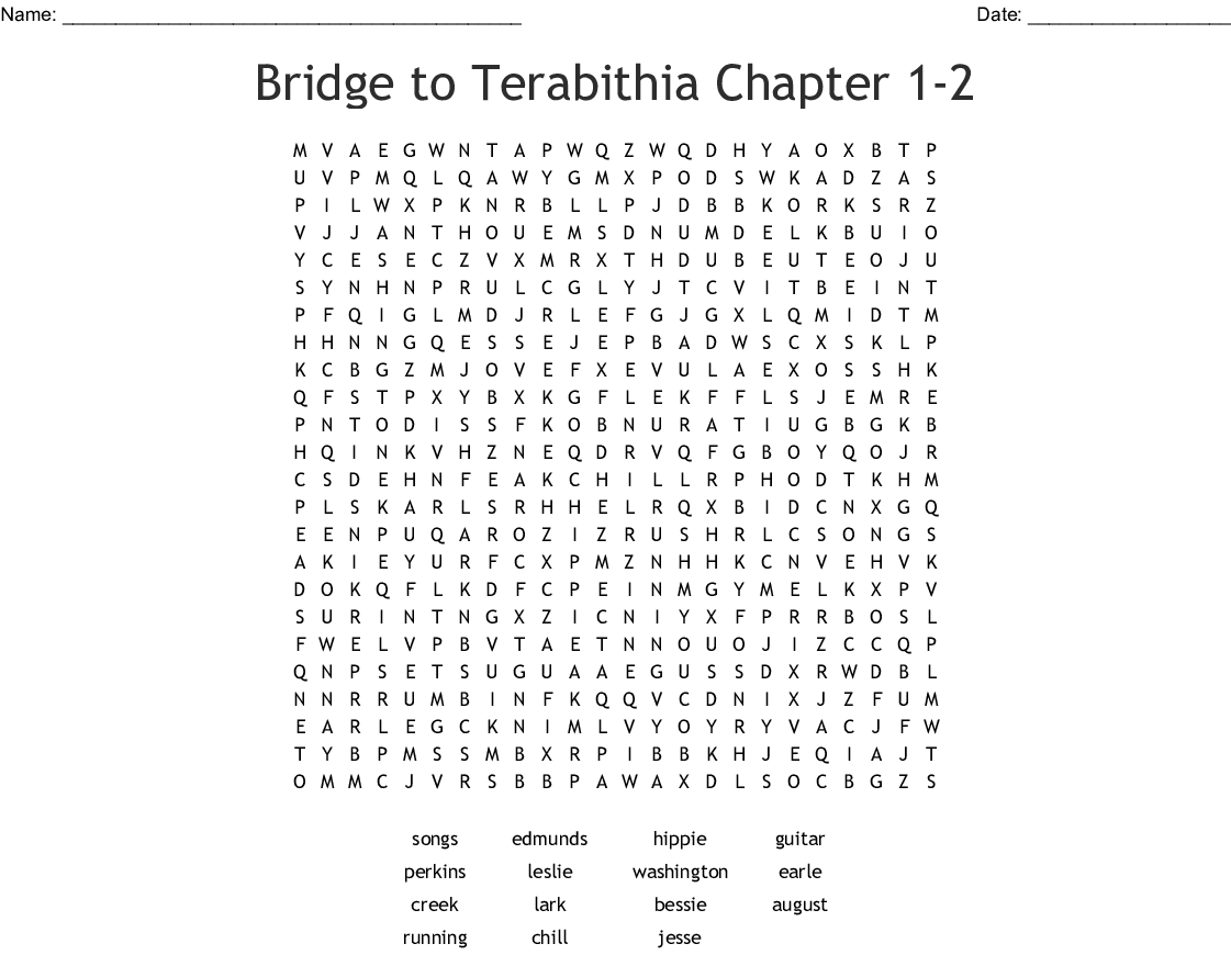 Bridge To Terabithia Chapter 1 2 Word Search