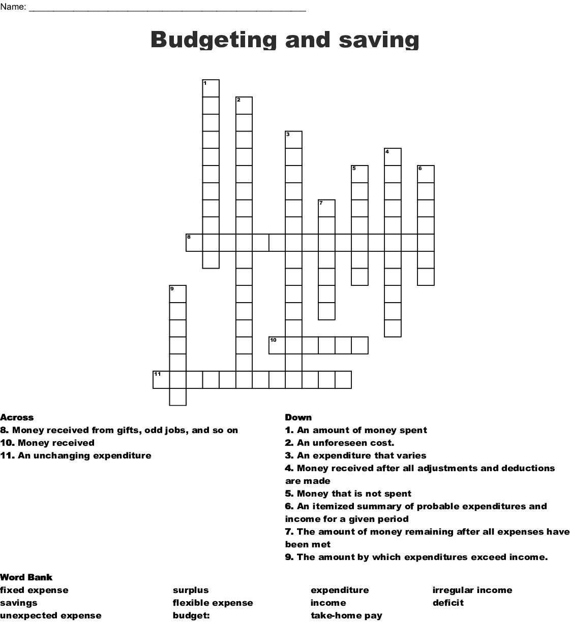 Budget Vocabulary Worksheet