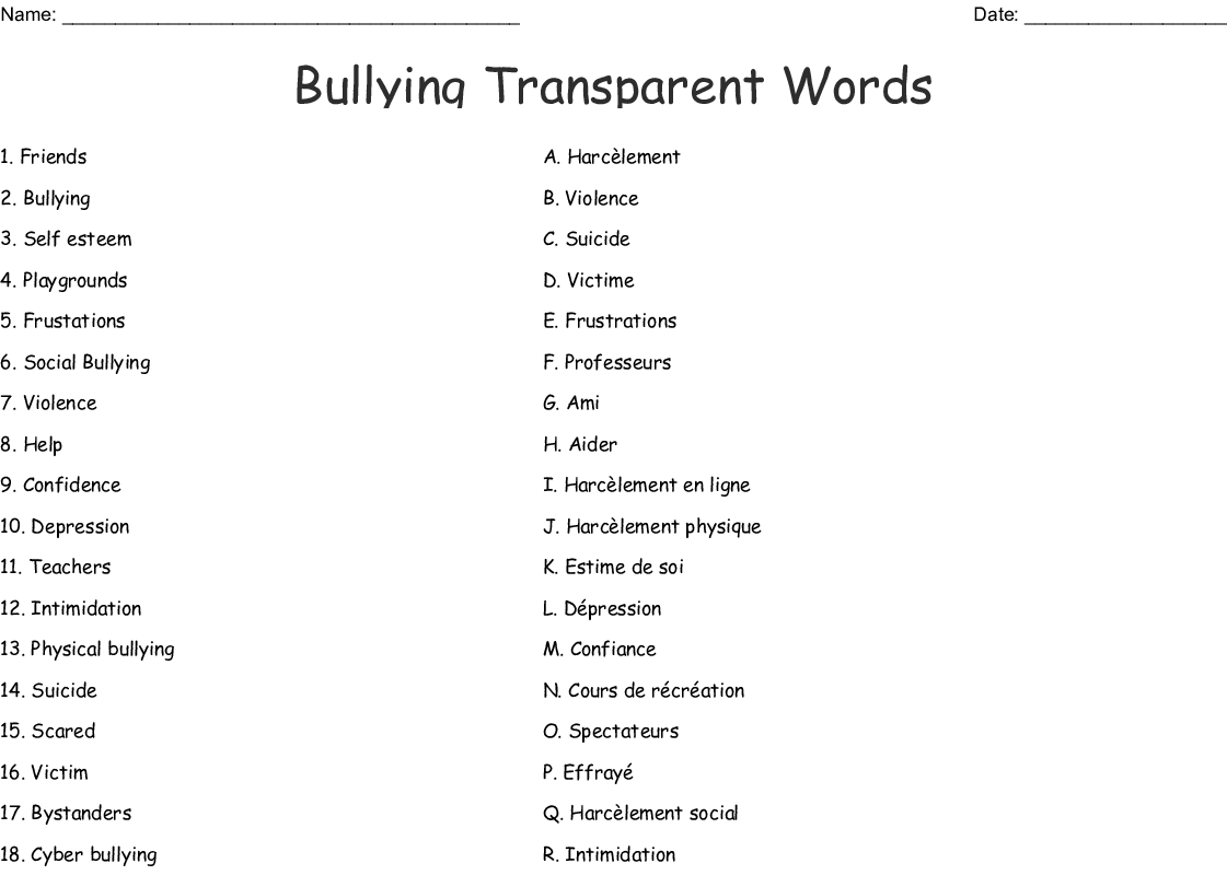 Bullying Word Search