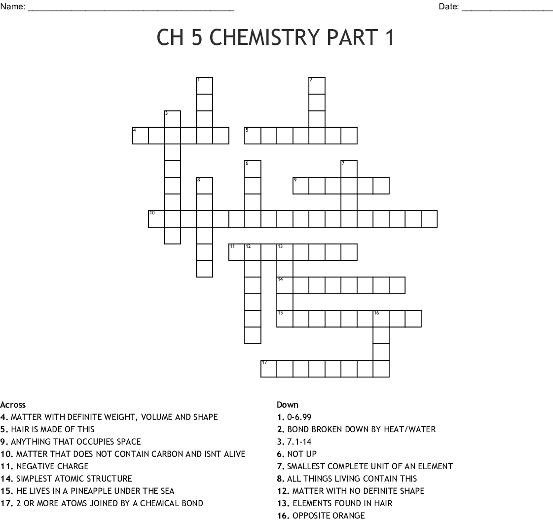 Ch 5 Chemistry Part 1 Crossword