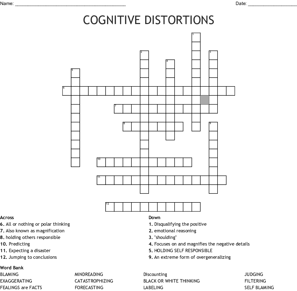 Cognitive Distortion Bingo