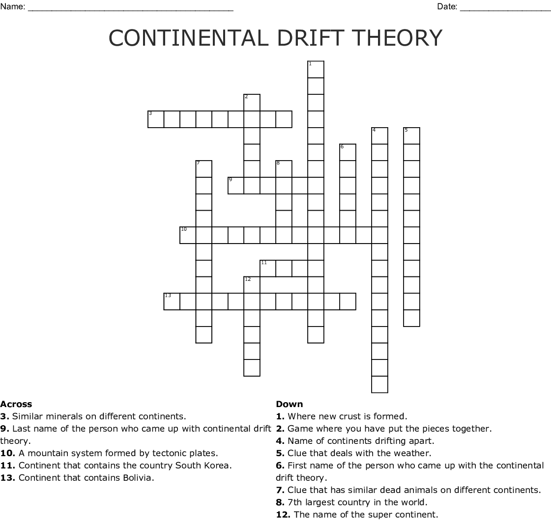 Continental Drift Word Search