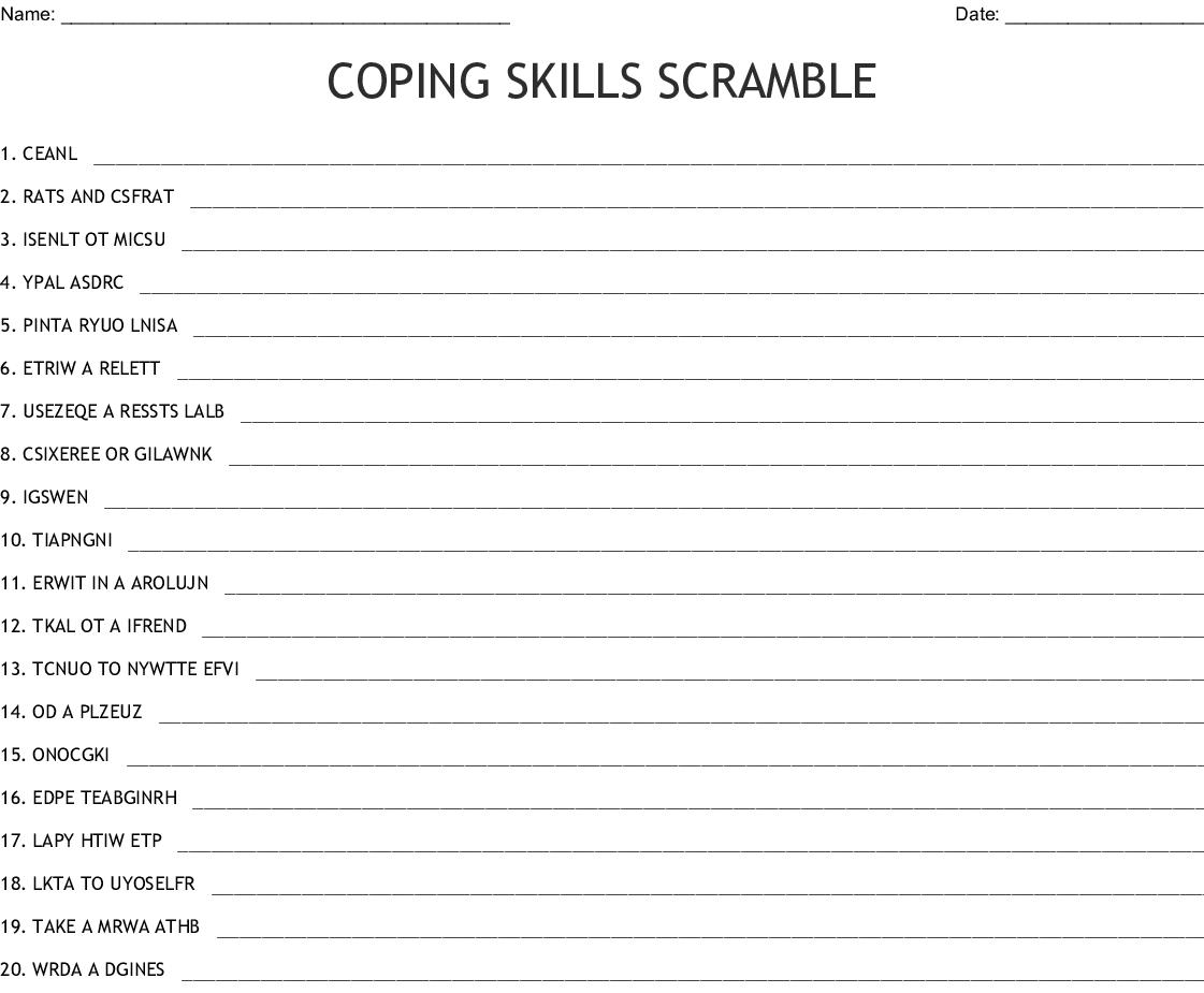 Coping Skills Word Scramble