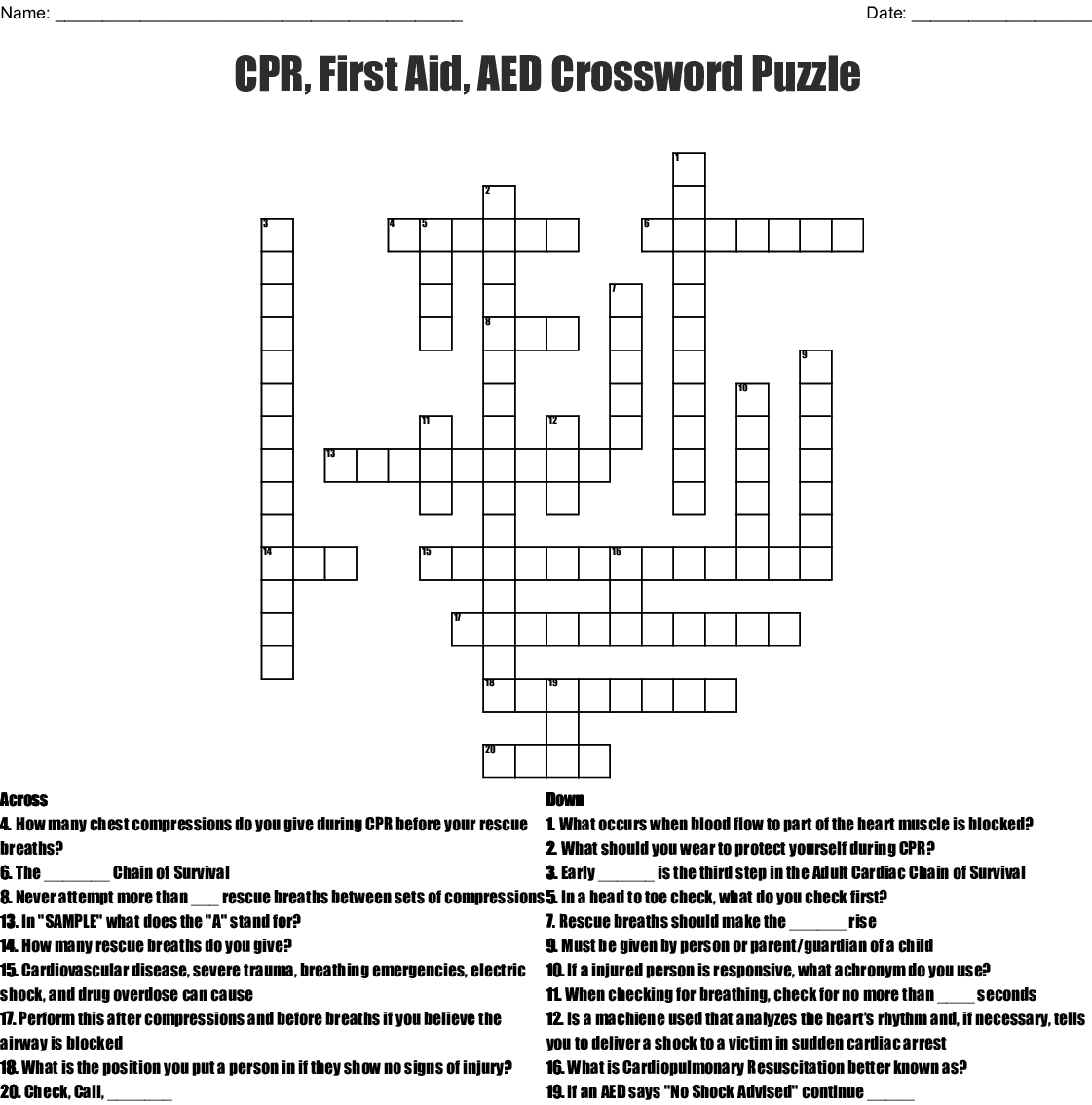 Safety Crossword Puzzle