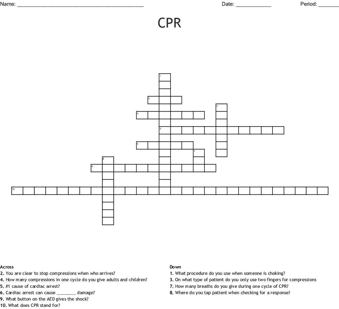 First Aid Crossword