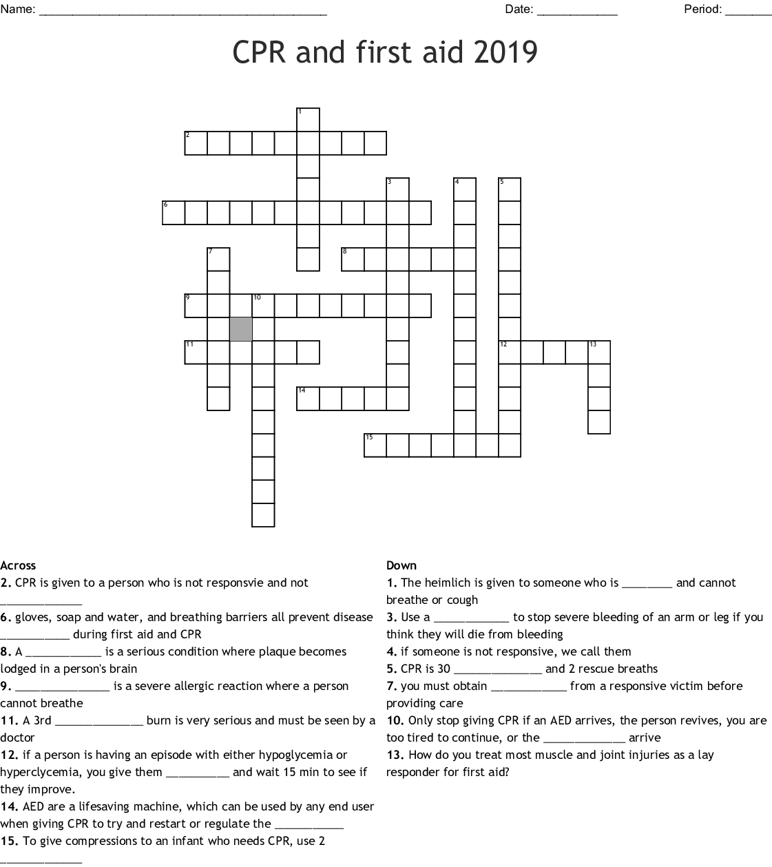 Cpr And First Aid Crossword