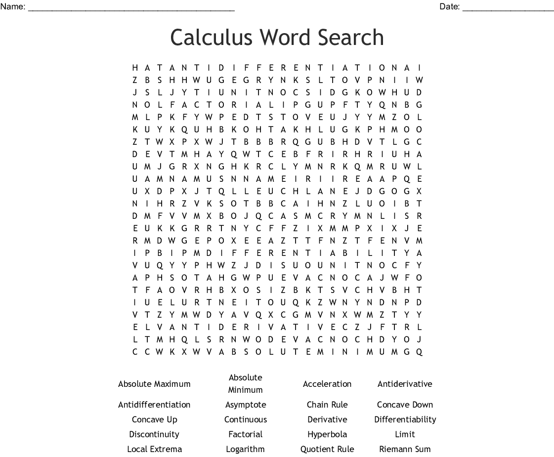 Calculus Word Search