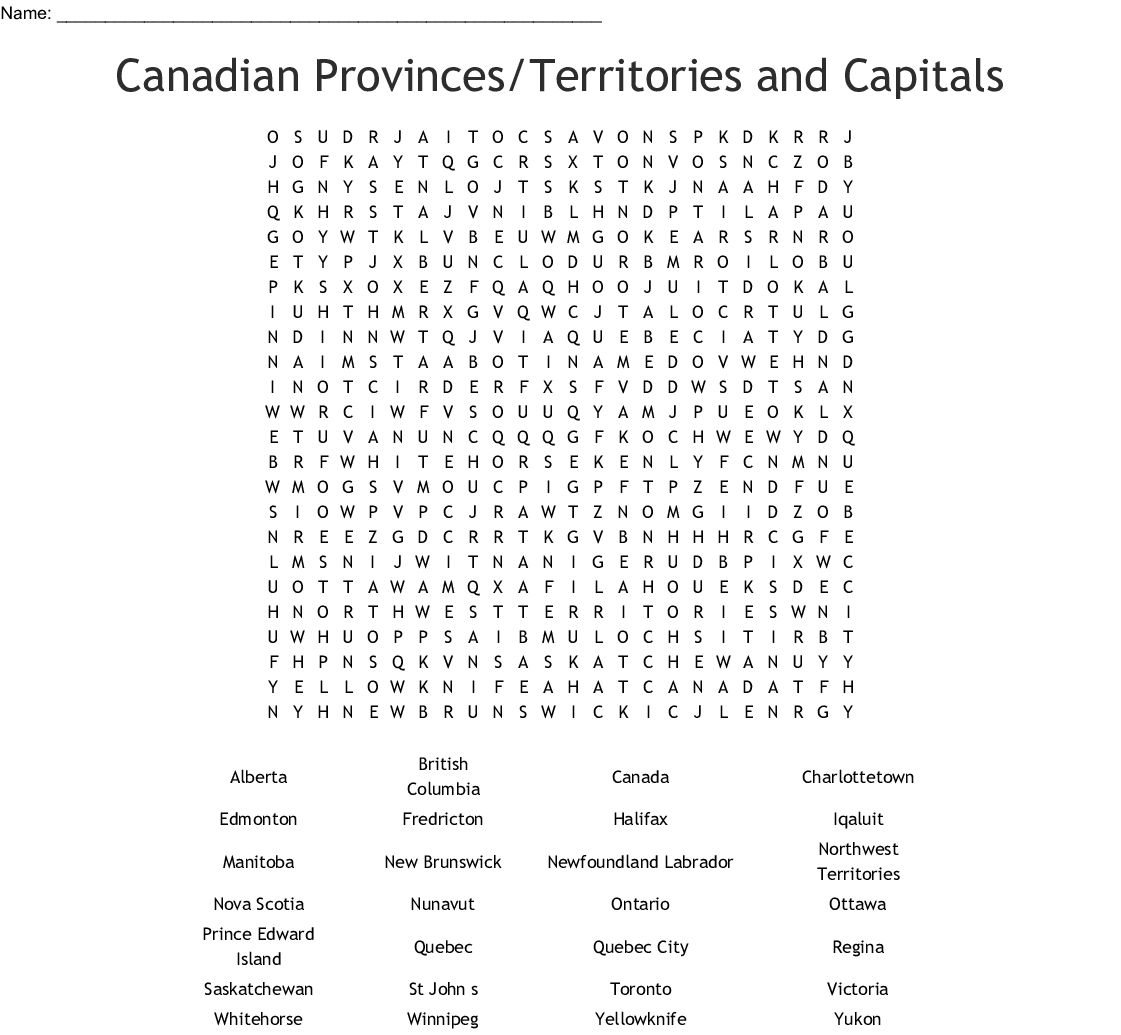 Canadian Provinces Territories And Capitals Word Search