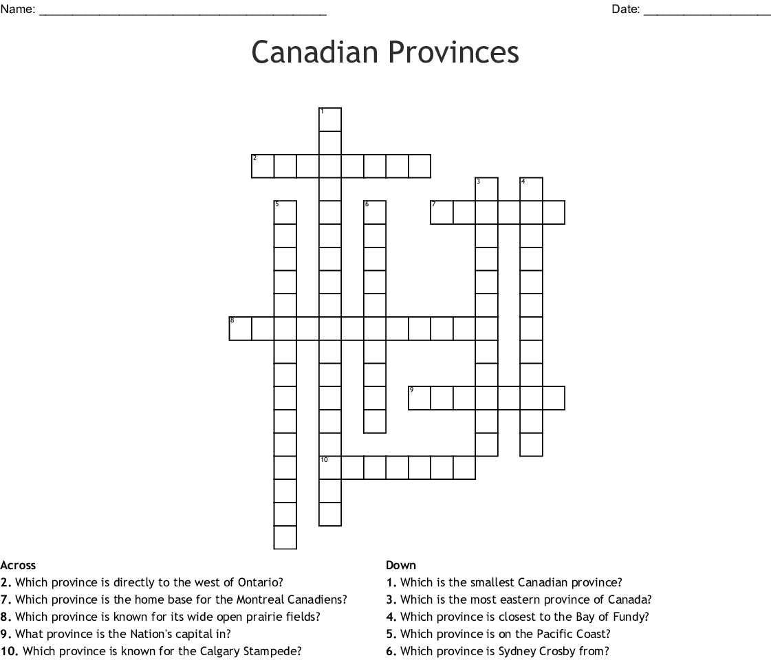 Canadian Provinces Word Search