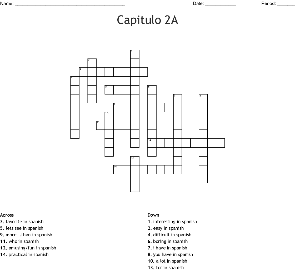 2a 8 Spanish Crossword Answers