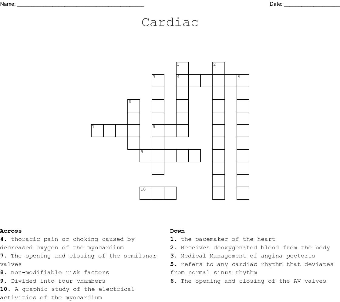 Cardiac Crossword