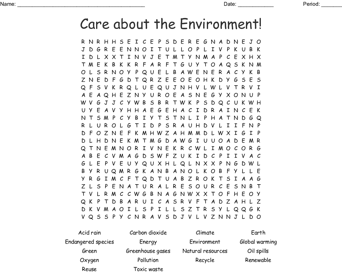 Pollution And The Environment Crossword