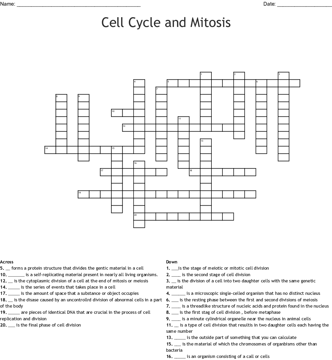 Cell Cycle And Mitosis Crossword