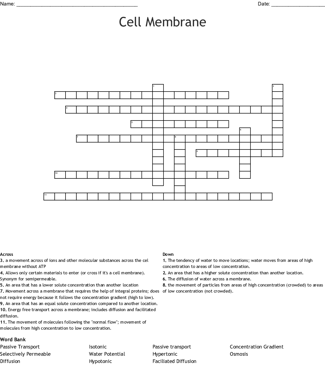 Cell Transport Osmosis Amp Diffusion Crossword
