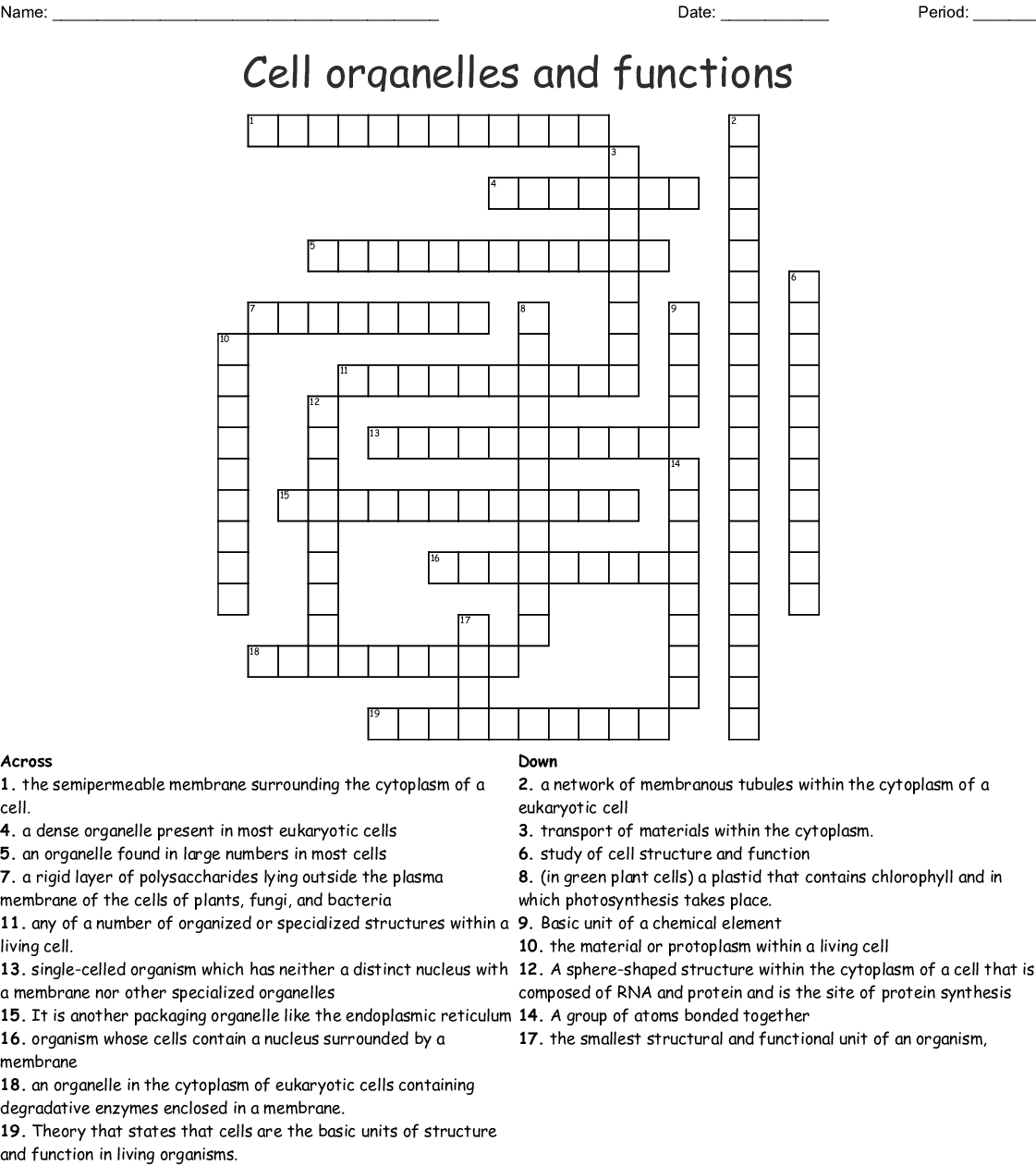 Cell Organelles And Plasma Membrane Crossword