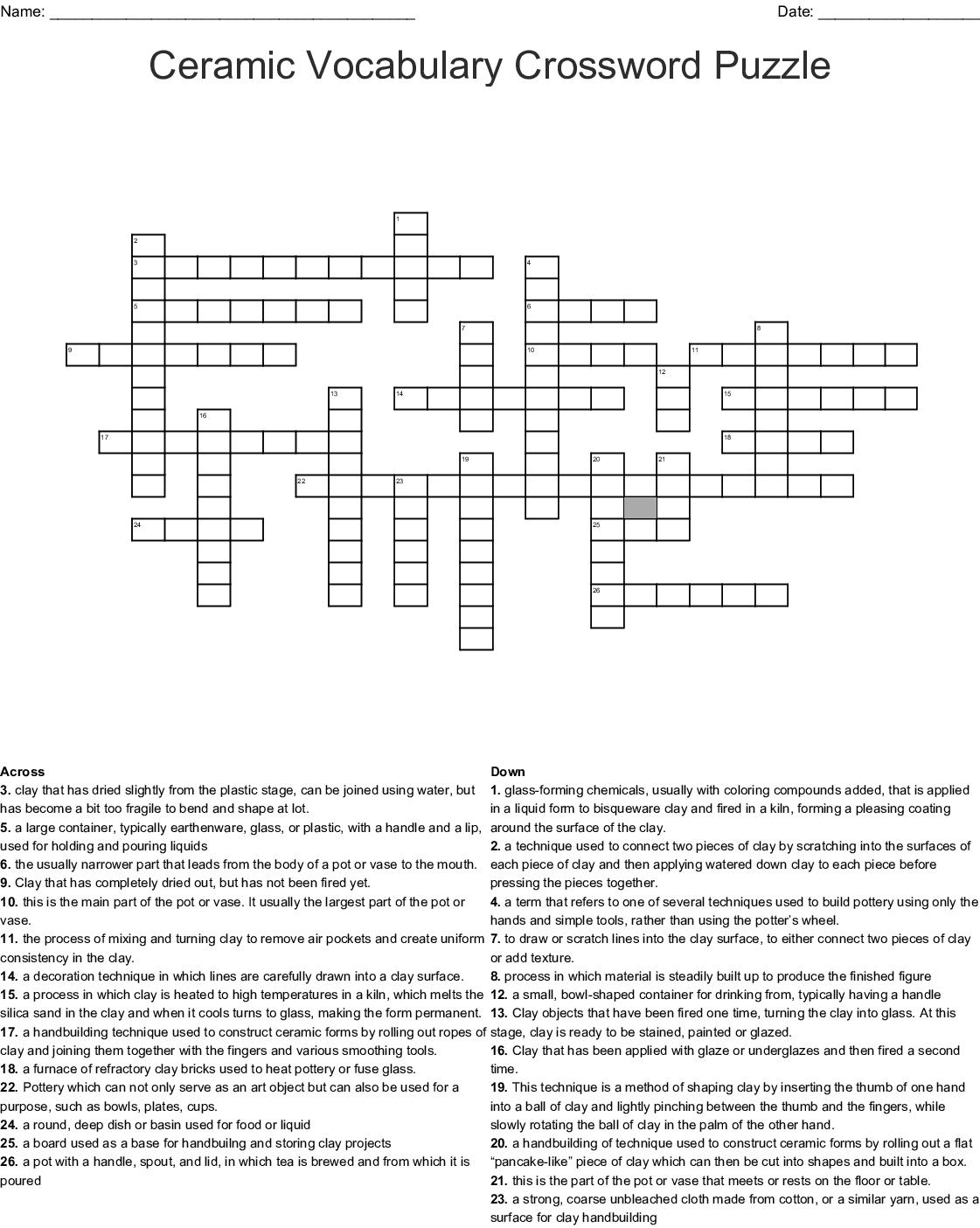 Clay Crossword Worksheet
