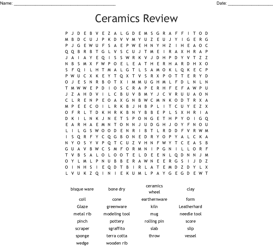 Ceramics Review Word Search