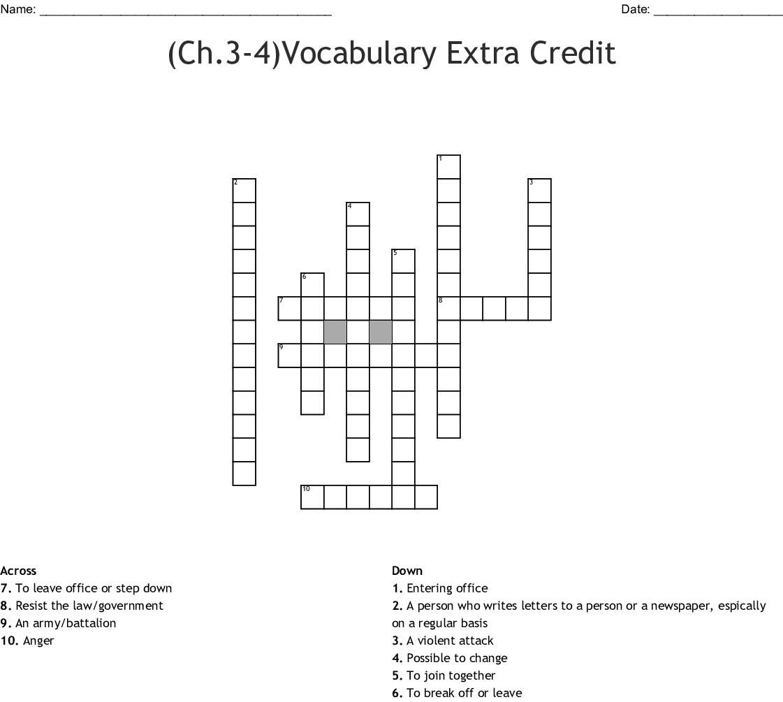 Ch 3 4 Vocabulary Extra Credit Crossword