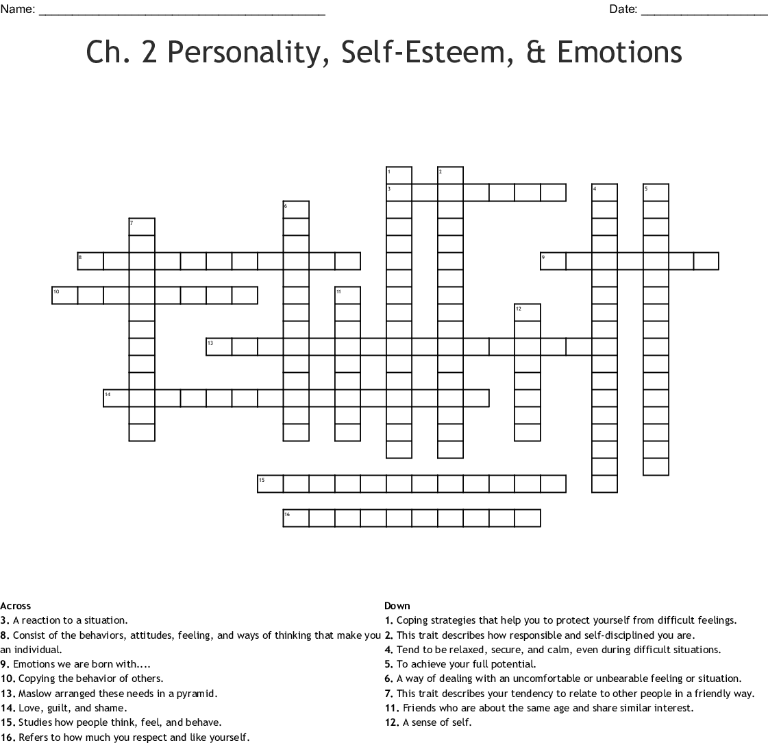 Self Esteem Boosters Word Search