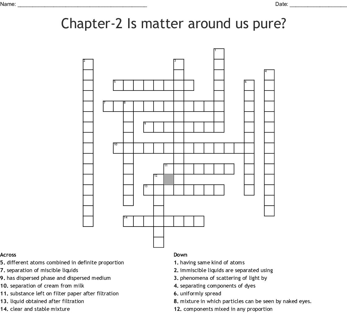 Separating Mixtures Crossword