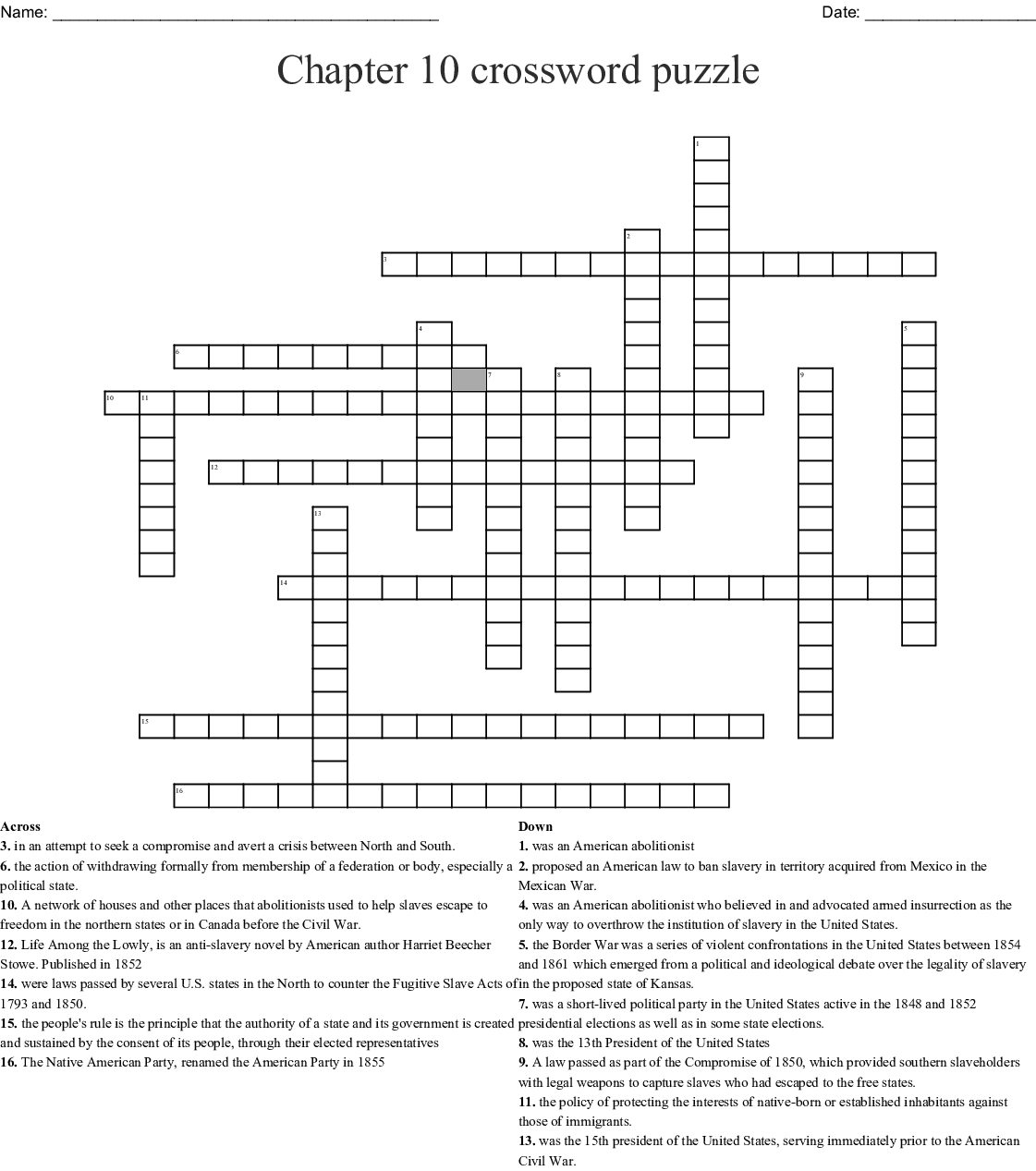 Chapter 10 Crossword Puzzle