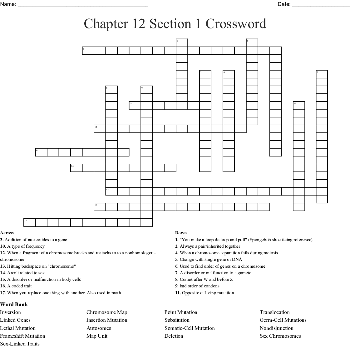Chapter 12 Section 1 Crossword