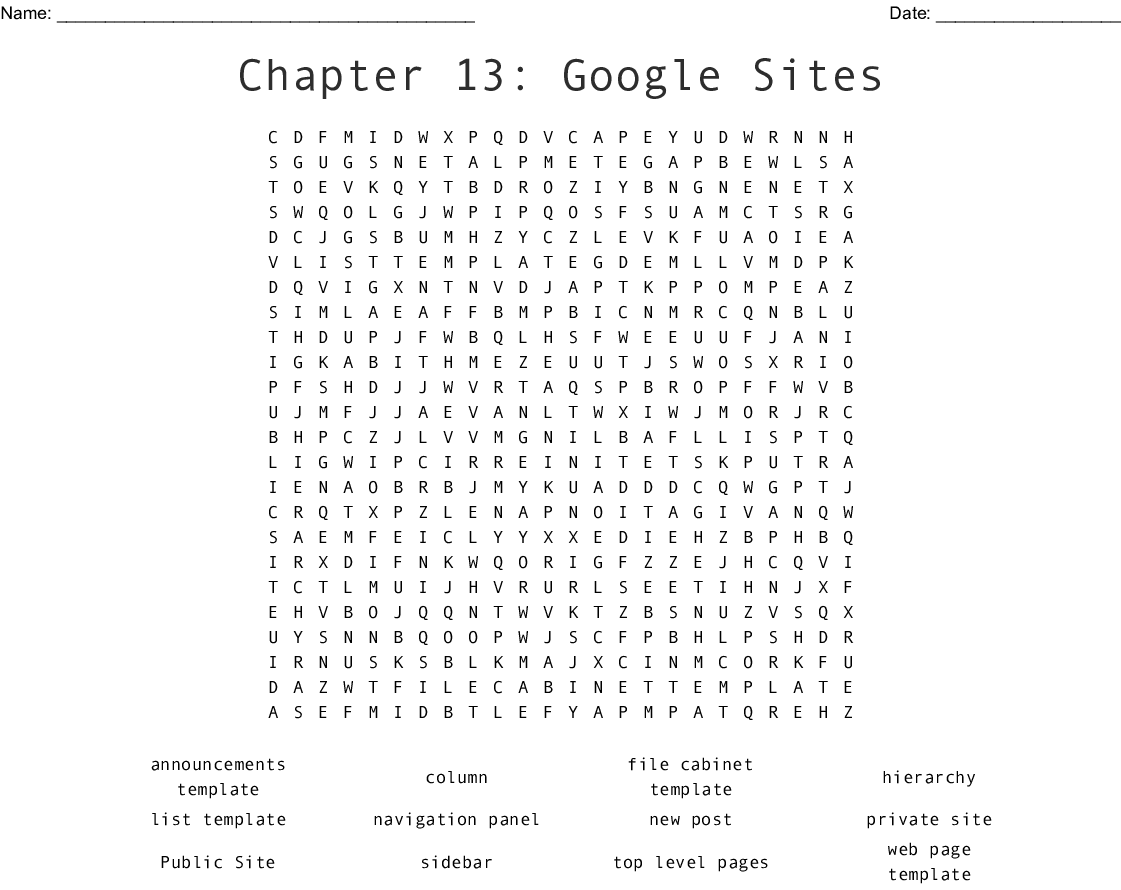 Chapter 13 Sites Word Search