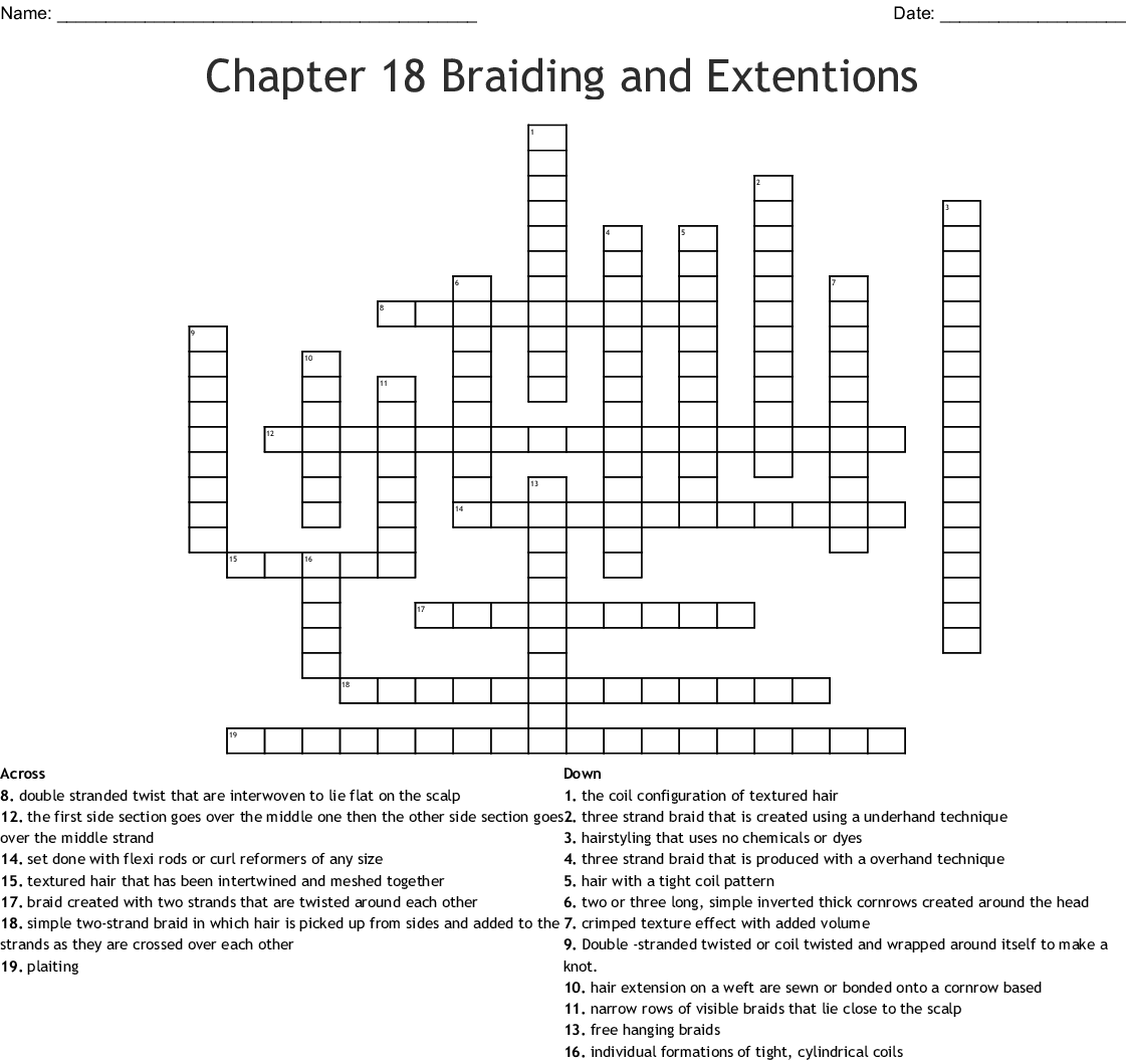 Chapter 18 Braiding And Extentions Crossword