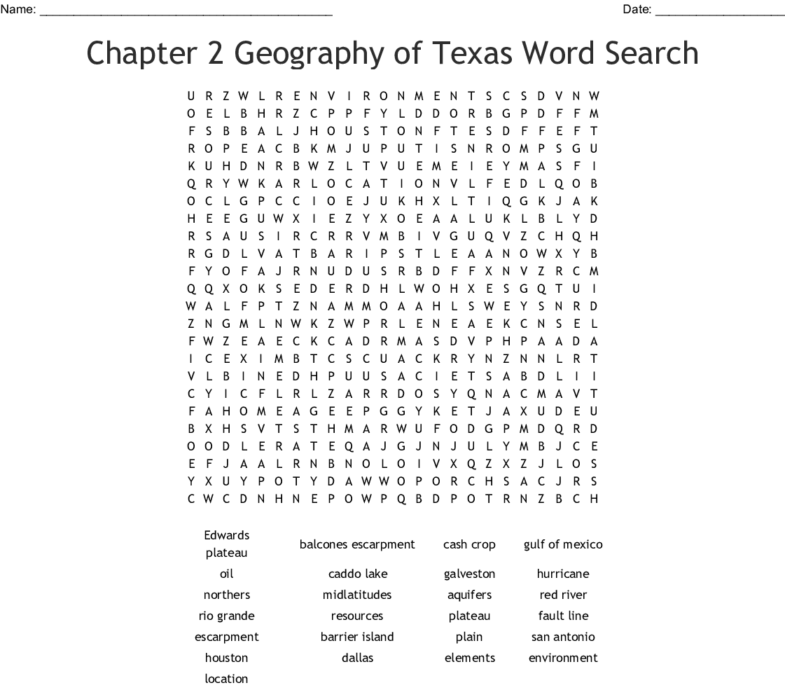Texas History Word Search