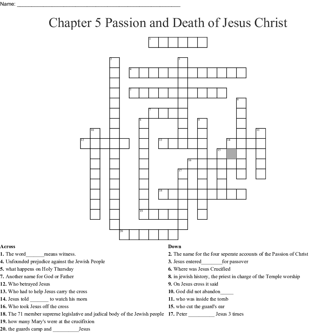 Chapter 5 Passion And Of Jesus Christ Crossword
